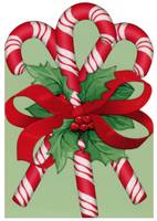 Candy Cane Die Cut (1 card/1 envelope) - Christmas Card  INSIDE: May the holidays bring you many sweet moments.
