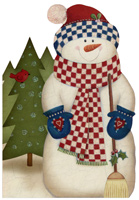 Checkered Scarf Snowman (16 cards/16 envelopes) - Boxed Christmas Cards  INSIDE: Hope the holidays bring the things that make you smile.