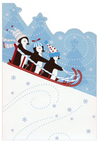 Penguins Sledding (1 card/1 envelope) Image Arts Christmas Card