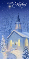 Church at Night (16 cards/16 envelopes) - Boxed Christmas Cards - FRONT: Merry Christmas  INSIDE: May all the blessings of the season shine upon you.