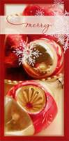 Gold and Red Ornaments (1 card/1 envelope) - Christmas Card - FRONT: merry  INSIDE: Hope this is a Christmas to keep in your heart forever.