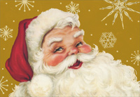 Santa on Gold (1 card/1 envelope) Image Arts Christmas Card