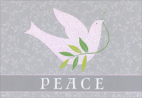 Glitter Dove (16 cards/16 envelopes) - Boxed Christmas Cards - FRONT: Peace  INSIDE: May the hope and peace of the Christmas season bring you joy.