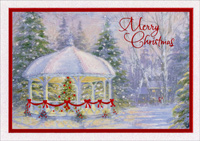 Gazebo with Red Ribbon (1 card/1 envelope) - Christmas Card - FRONT: Merry Christmas  INSIDE: Wishing you all the joys of the season and many happy memories to treasure throughout the year.