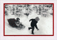 Children with Sled (1 card/1 envelope) - Christmas Card  INSIDE: May the Christmas season bring peace to your heart and joy to your home.