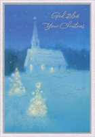 Church in Snow (16 cards/16 envelopes) - Boxed Christmas Cards - FRONT: God Bless Your Christmas  INSIDE: May your hearts be filled with God's pure joy� your gatherings with laughter; May your home be warmed with His great love at Christmas and long after. Have a wonderful celebration of our beautiful Savior. ~ For unto you is born� a Saviour ~ LUKE 2:11 KJV