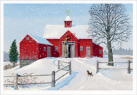 Red Barn (1 card/1 envelope) Image Arts Christmas Card