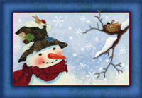 Snowman and Birds Christmas Card