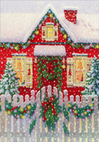 House with Fence (1 card/1 envelope) - Christmas Card  INSIDE: May every corner of your home be warmed by the wonder of the season.