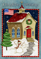 Church with Flag (16 cards/16 envelopes) - Boxed Christmas Cards - FRONT: Christmas Blessings  INSIDE: At Christmas and always, may God bless us, keep us, and shed His grace on us all.