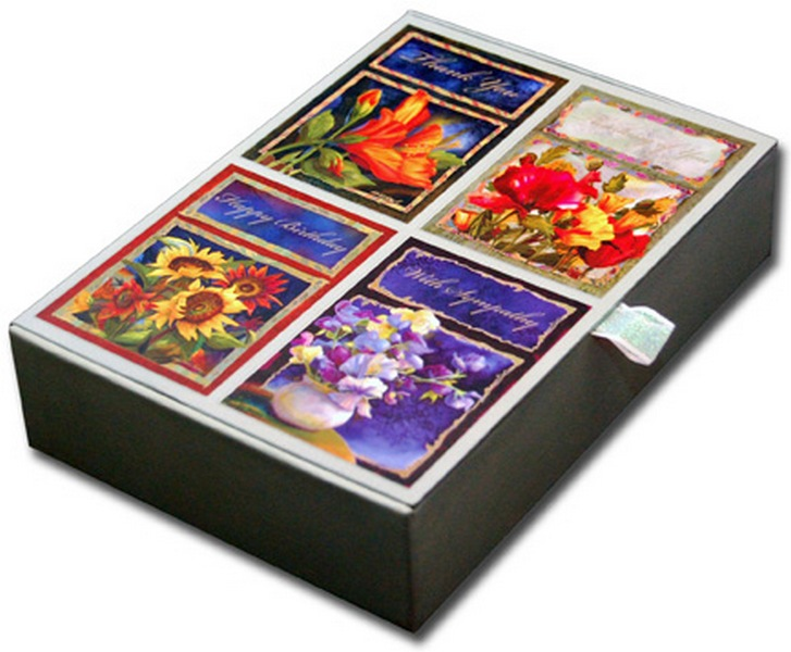 Beautiful on Silk (16 cards & 16 envelopes) All Occasion Nancy Dunlap Cawdrey Boxed Assorted Greeting Cards
