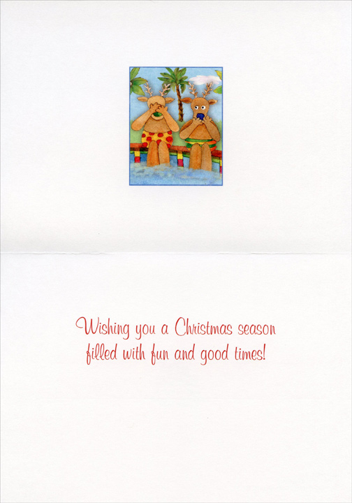 Cannonball Santa (18 cards/18 envelopes) LPG Warm Weather Boxed Christmas Cards - FRONT: No Text  INSIDE: Wishing you a Christmas season filled with fun and good times!