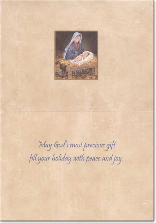 The Greatest Gift of All (1 card/1 envelope) LPG Religious Christmas Card - FRONT: No Text  INSIDE: May God's most precious gift fill your holiday with peace and joy.