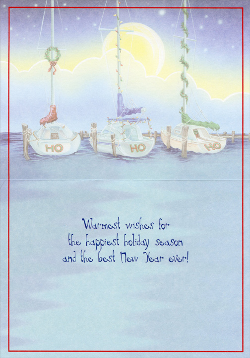 HO HO HO Boats (18 cards/18 envelopes) LPG Nautical Boxed Holiday Cards - FRONT: Ho Ho Ho  INSIDE: Warmest wishes for the happiest holiday season and the best New Year ever!