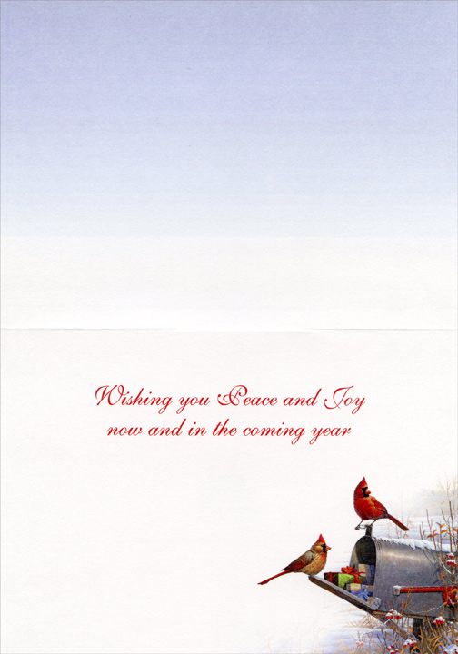Special Delivery Cardinals (1 card/1 envelope) - Holiday Card - FRONT: No Text  INSIDE: Wishing you Peace and Joy now and in the coming year