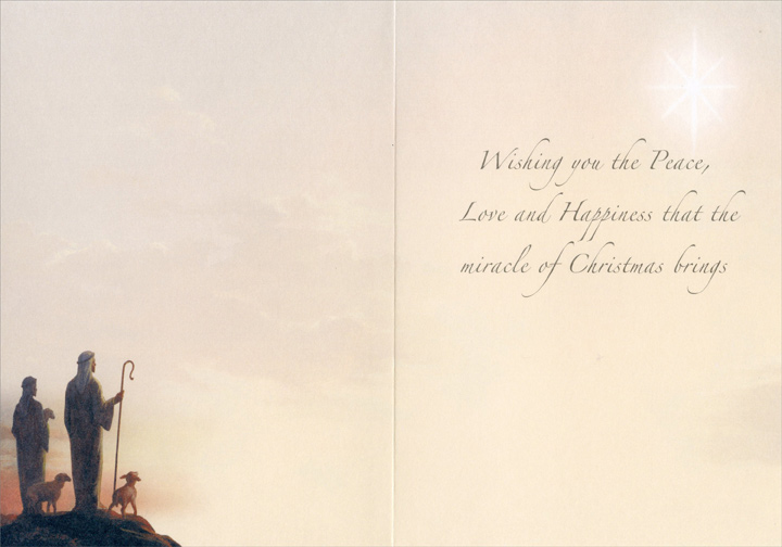 Shepherds (1 card/1 envelope) LPG Religious Christmas Card - FRONT: No Text  INSIDE: Wishing you the Peace, Love and Happiness that the miracle of Christmas brings