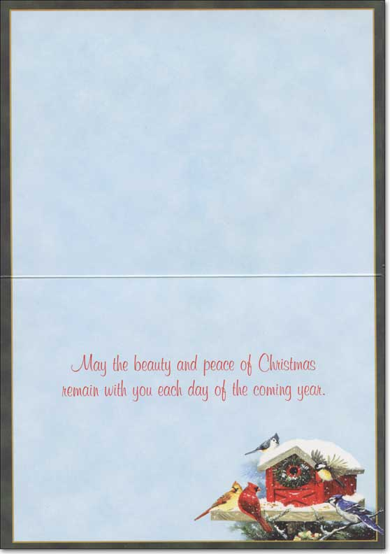 Christmas Bird Feeder (14 cards/14 envelopes) - Boxed Christmas Cards - FRONT: No Text  INSIDE: May the beauty and peace of Christmas remain with you each day of the coming year.