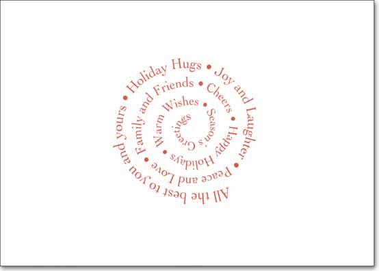 Kiss 'n Hug Photo Holder (1 card/1 envelope) - Holiday Card - FRONT: Slide standard 4x6� vertical or horizontal photo in here  INSIDE: All the best to you and yours - Holiday Hugs - Joy and Laughter - Peace and Love - Family and Friends - Cheers - Happy Holidays - Warm Wishes - Season's Greetings