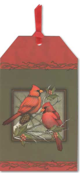 Warm Wishes Cardinals Pocket Ornament Card (1 card/1 envelope) - Holiday Card - FRONT: Warm Wishes  INSIDE: May the peace and beauty of the holiday season bring happiness to you throughout the New Year.