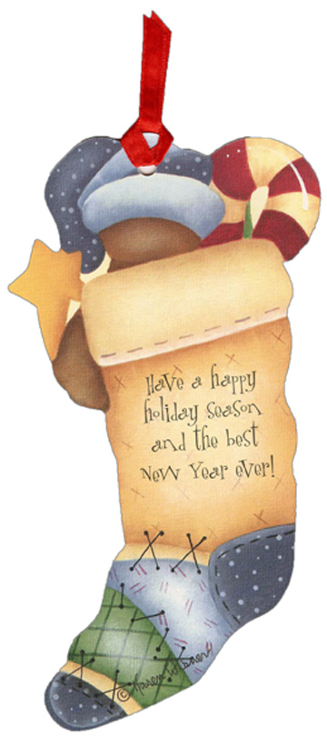 Bear Pocket Ornament Card (12 cards/12 envelopes) LPG Bookmark Boxed Holiday Cards - FRONT: No Text  INSIDE: Have a happy holiday season and the best New Year ever!