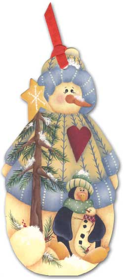 Snowman & Penguin Pocket Ornament Card (1 card/1 envelope) - Holiday Card - FRONT: No Text  INSIDE: Wishing you Happy Holidays and a New Year filled with joy!