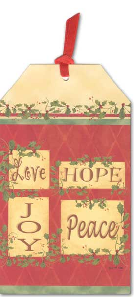 Love, Hope, Joy, Peace Pocket Ornament Card (12 cards/12 envelopes) - Boxed Christmas Cards - FRONT: Love Hope Joy Peace  INSIDE: May every blessing of Christmas be yours.