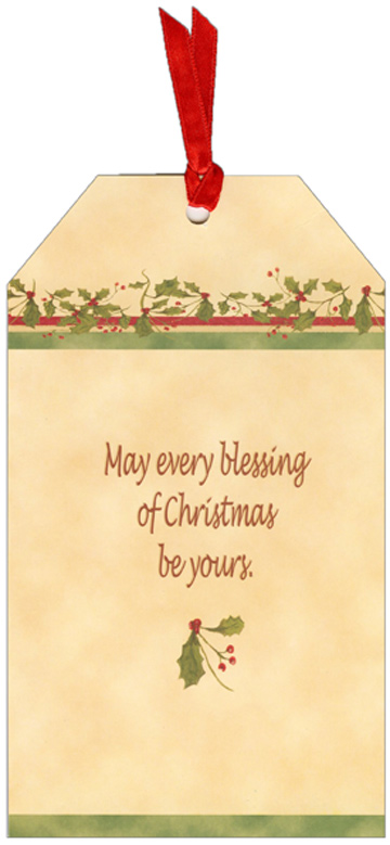 Love, Hope, Joy, Peace Pocket Ornament Card (1 card/1 envelope) LPG Bookmark Christmas Card - FRONT: Love Hope Joy Peace  INSIDE: May every blessing of Christmas be yours.