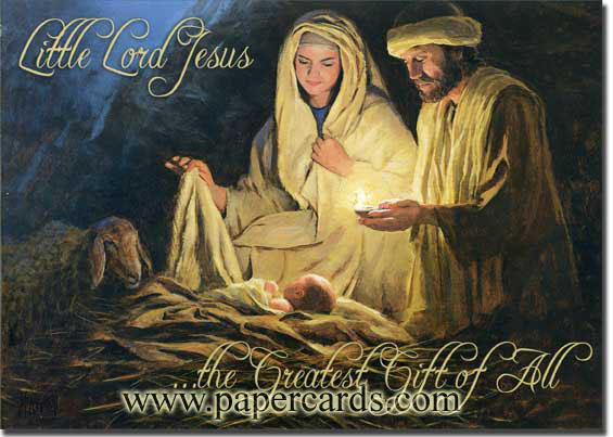 Baby Jesus' Birth (1 card/1 envelope) Religious Christmas Card - FRONT: Little Lord Jesus �the Greatest Gift of All  INSIDE: May God's most precious gift fill your life with the blessings of Peace and Joy.