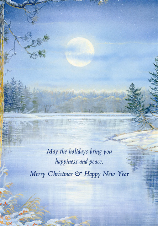 Moonlight Reflections (18 cards/18 envelopes) Boxed Christmas Cards  INSIDE: May the holidays bring you happiness and peace. Merry Christmas & Happy New Year
