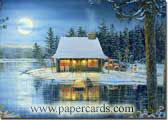 Moonlight Reflections (1 card/1 envelope) - Christmas Card  INSIDE: May the holidays bring you happiness and peace. Merry Christmas & Happy New Year
