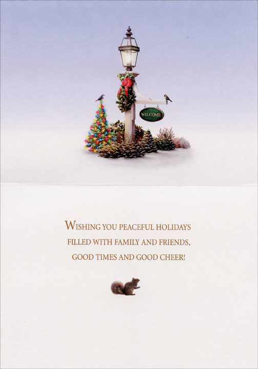 Holiday Welcome (1 card/1 envelope) Alan Giana Christmas Card  INSIDE: WISHING YOU PEACEFUL HOLIDAYS FILLED WITH FAMILY AND FRIENDS, GOOD TIMES AND GOOD CHEER!