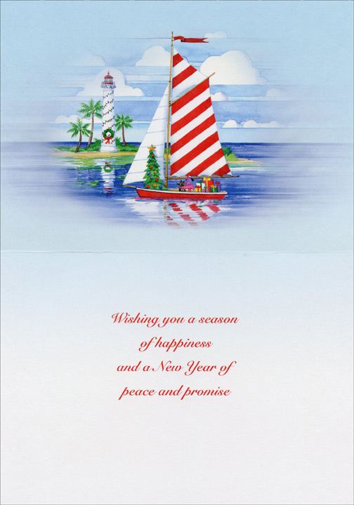 Christmas Harbor (1 card/1 envelope) Nautical Christmas Card  INSIDE: Wishing you a season of happiness and a New Year of peace and promise