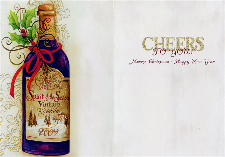 Cheers Wine Bottle (18 cards/18 envelopes) Boxed Christmas Cards - FRONT: CHEERS  INSIDE: CHEERS TO YOU! Merry Christmas - Happy New Year