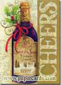 Cheers Wine Bottle (1 card/1 envelope) - Christmas Card