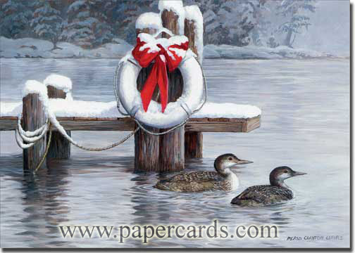 Loons of Winter (1 card/1 envelope) - Christmas Card  INSIDE: May nature's gifts and the spirit of the holidays bring you peace and joy.