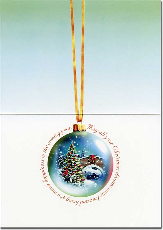 Cardinal & Ornament (1 card/1 envelope) - Christmas Card  INSIDE: May all your Christmas dreams come true and bring you much happiness in the coming year.