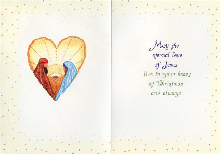 Love was Born on Christmas Morn (1 card/1 envelope) - Christmas Card - FRONT: love was born on Christmas Morn  INSIDE: May the eternal love of Jesus live in your heart at Christmas and always.