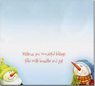 Four Snowmen Slim (14 cards/14 envelopes) Boxed Christmas Cards  INSIDE: Wishing you wonderful holidays filled with laughter and joy!