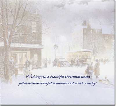Winter City Scene Slim (14 cards/14 envelopes) - Boxed Christmas Cards - FRONT: Christmas Greetings  INSIDE: Wishing you a beautiful Christmas season filled with wonderful memories and much new joy!
