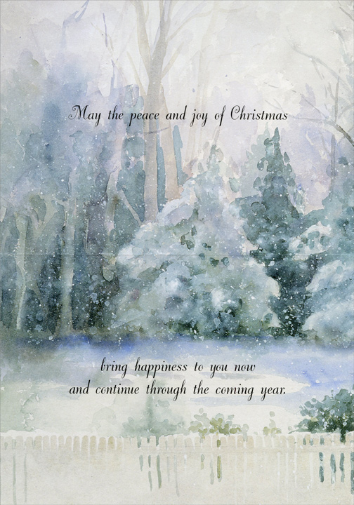 Snowy Church (18 cards/18 envelopes) LPG Religious Boxed Christmas Cards - FRONT: No Text  INSIDE: May the peace and joy of Christmas bring happiness to you now and continue through the coming year.