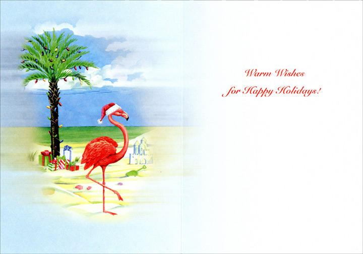 Flamingo on Christmas Beach (1 card/1 envelope) Warm Weather Christmas Card  INSIDE: Warm wishes for Happy Holidays!