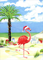 Flamingo on Christmas Beach (1 card/1 envelope) - Christmas Card  INSIDE: Warm wishes for Happy Holidays!