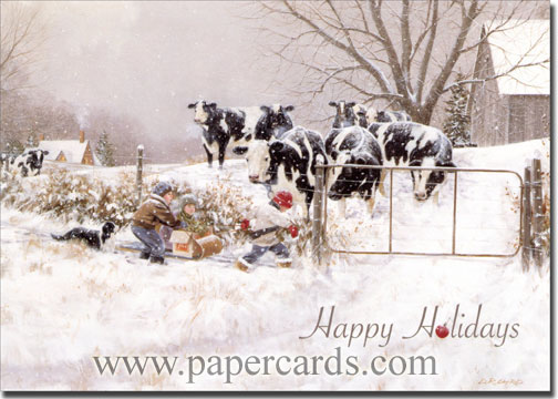 Children & Cows: My Turn (1 card/1 envelope) Christmas Card - FRONT: Happy Holidays  INSIDE: Warm wishes for a season filled with happy times and special memories. Merry Christmas - Happy New Year