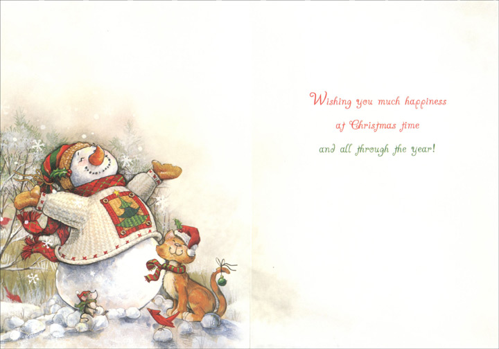 Snowman and Cat: Winter Bliss (1 card/1 envelope) Christmas Card - FRONT: Merry Christmas!  INSIDE: Wishing you much happiness at Christmas time and all through the year!