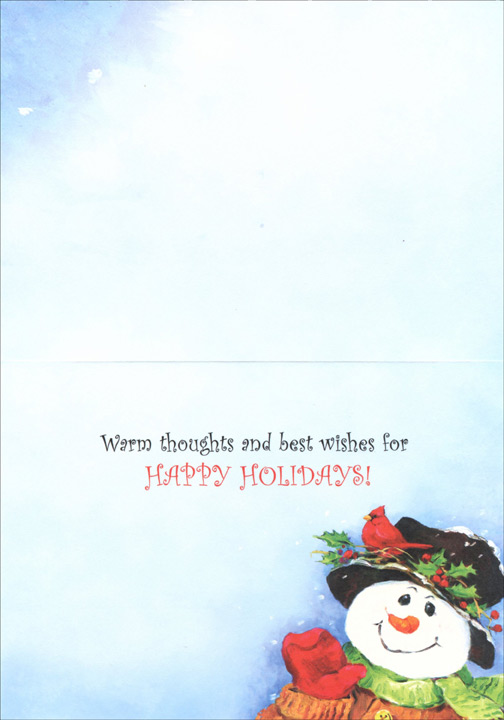 Holly Snowman (1 card/1 envelope) Christmas Card  INSIDE: Warm thoughts and best wishes for Happy Holidays!