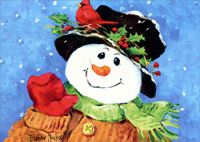 Holly Snowman (1 card/1 envelope)  Christmas Card