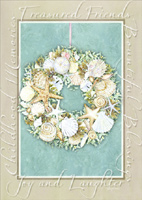Sea Shell Wreath: Coastal Christmas (1 card/1 envelope) - Christmas Card