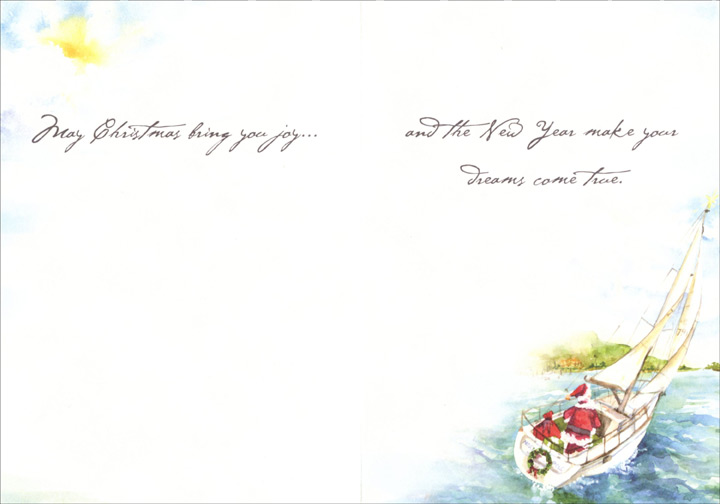 Santa Sails (1 card/1 envelope) - Christmas Card  INSIDE: May Christmas bring you joy� and the New Year make your dreams come true.