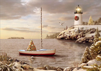 Sailboat and Lighthouse: Christmas Cove (1 card/1 envelope) - Christmas Card  INSIDE: Best Wishes for Happy Holidays and a Wonderful New Year