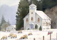 Sheep & Church: All is Calm (1 card/1 envelope) - Christmas Card